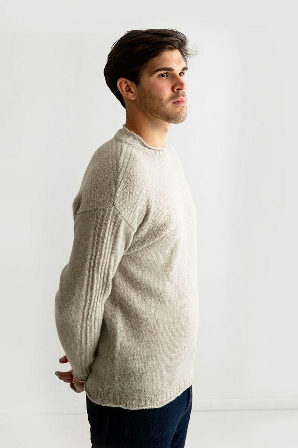 Mens putty beige gansey guernsey jumper sweater shetland wool