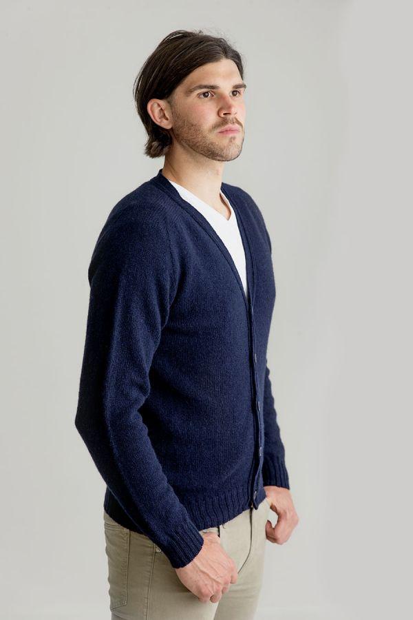 mens shetland wool navy blue cardigan sweater v vee neck