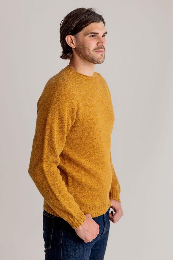 mens shetland wool yellow mustard jumper sweater crew saddle shoulder seamless