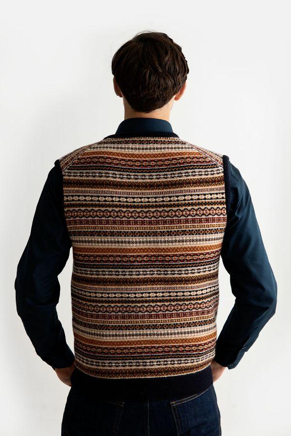mens wool fair isle jumper sweater vest navy gold tank top slip over