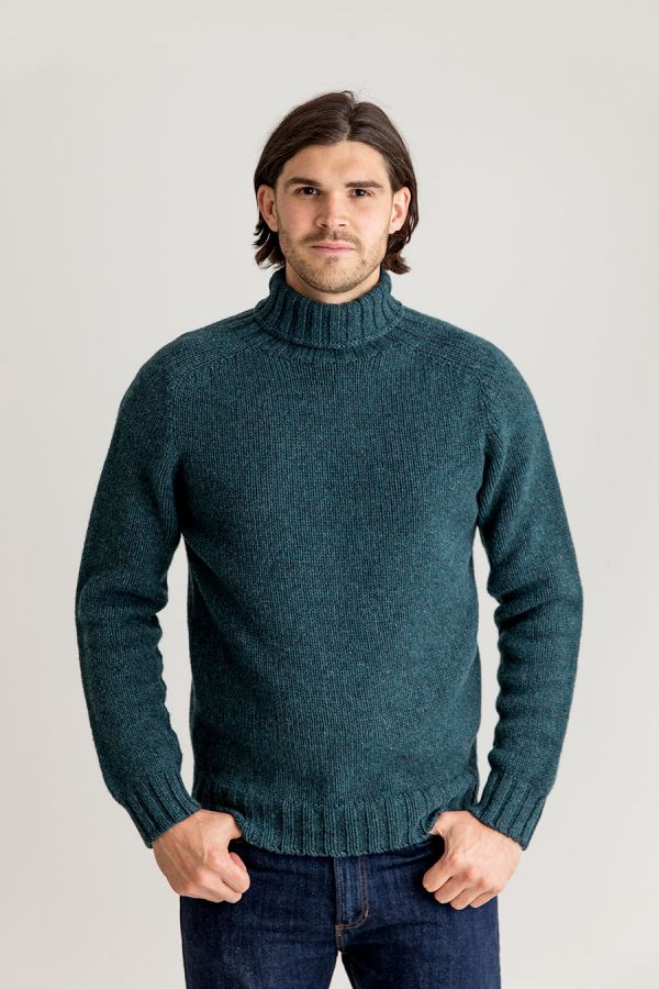 mens teal polo neck jumper sweater lambs wool chunky geelong super fine