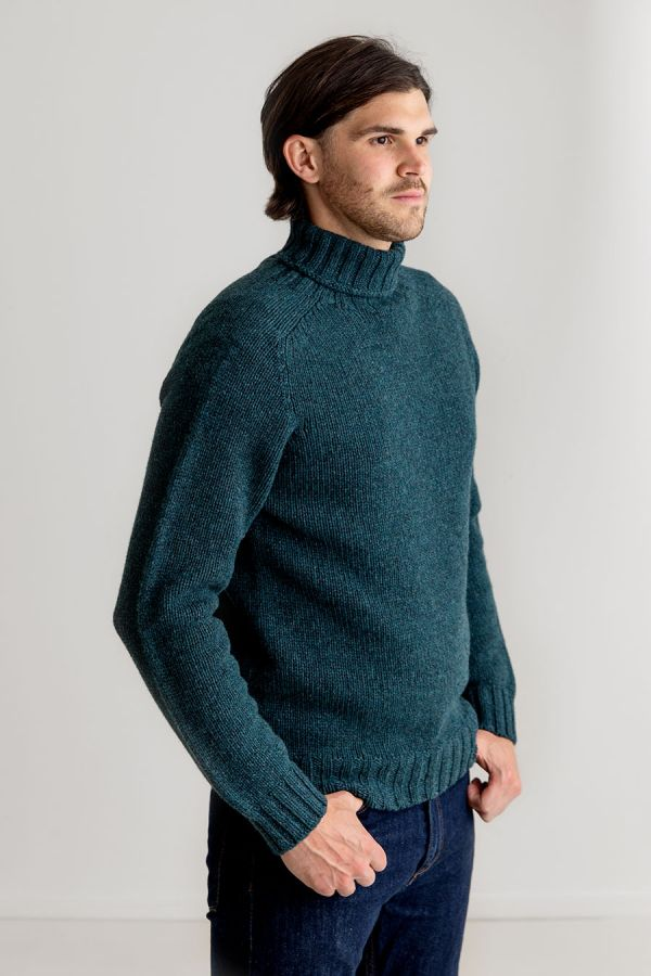 mens teal turtle neck sweater lambs wool chunky geelong super fine