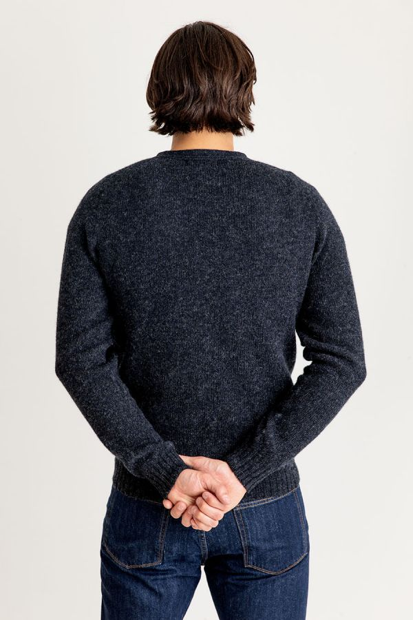 mens wool cardigan charcoal grey shetland scottish