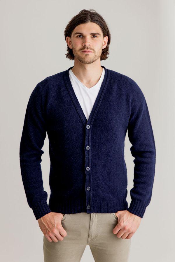 mens wool cardigan navy blue shetland v vee neck