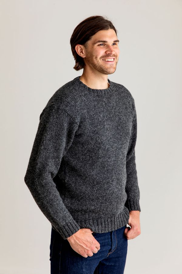mens wool crew neck mid grey jumper sweater chunky round
