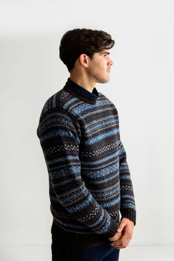 mens fair isle jumper sweater blue brown wool kinnaird
