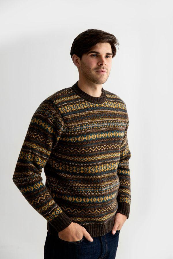 mens fair isle jumper sweater wool brown mustard yellow teal kinnaird