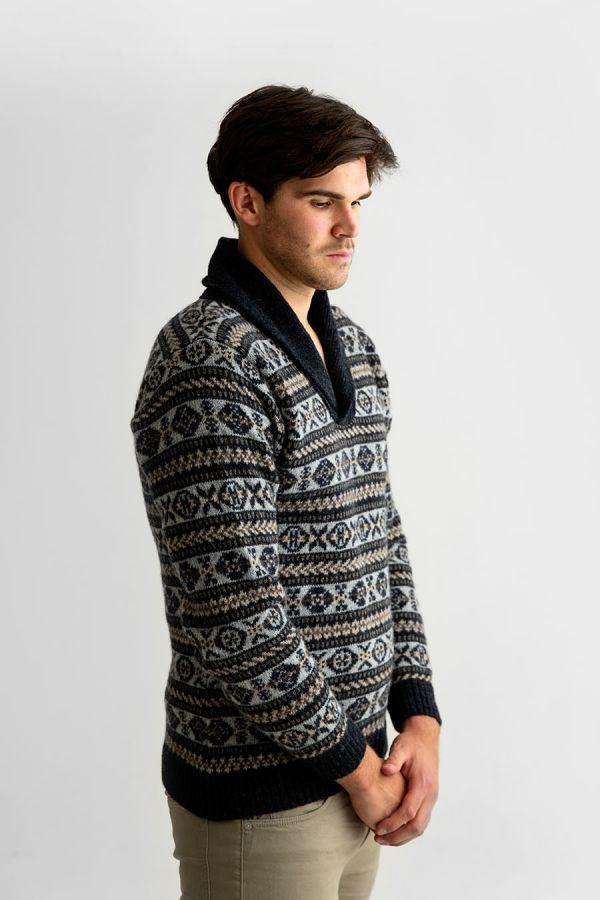 Mens fair isle wool sweater shawl collar jumper charcoal grey Lerwick