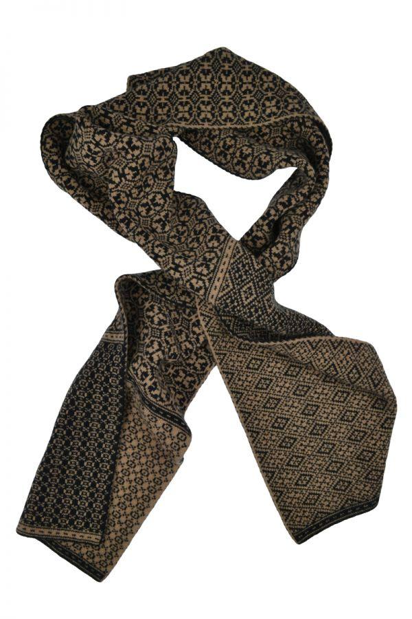 Rubislaw fair isle scarf in black and camel