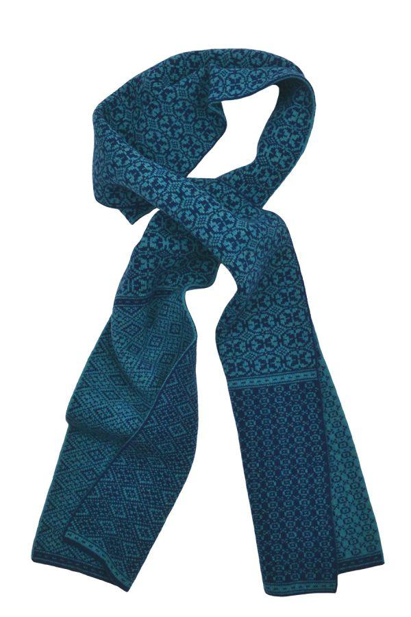 fair isle lambs wool scarf teal navy blue rubislaw