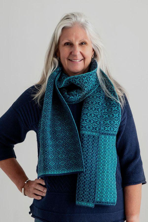 Rubislaw fair isle scarf teal navy blue