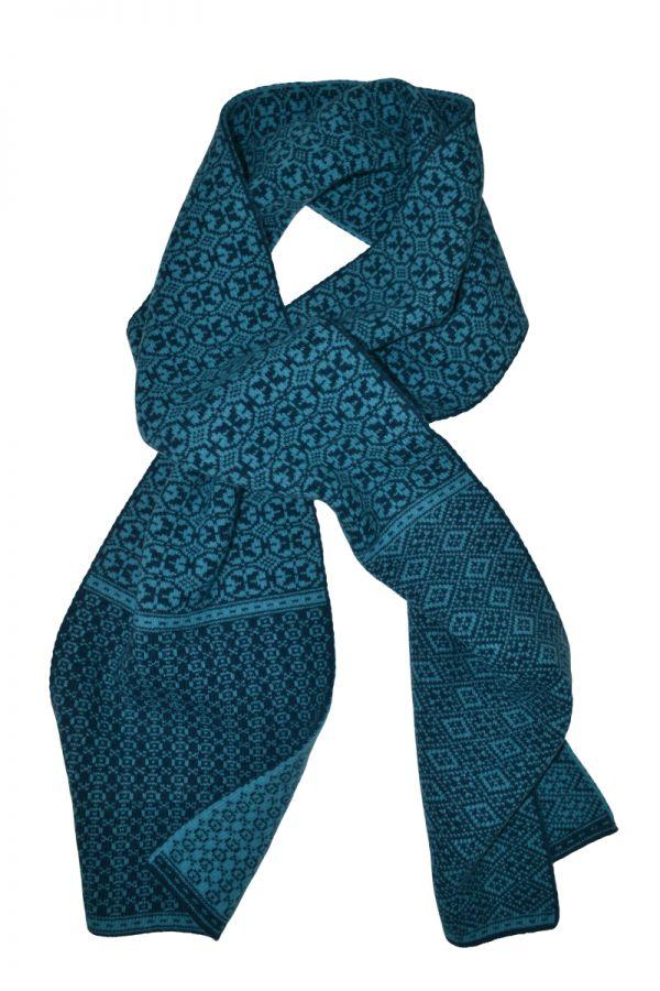 Rubislaw fair isle scarf in scarlet teal