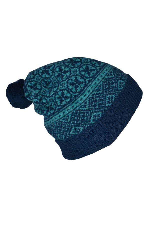 fair isle ski pom hat teal navy blue lambs wool rubislaw