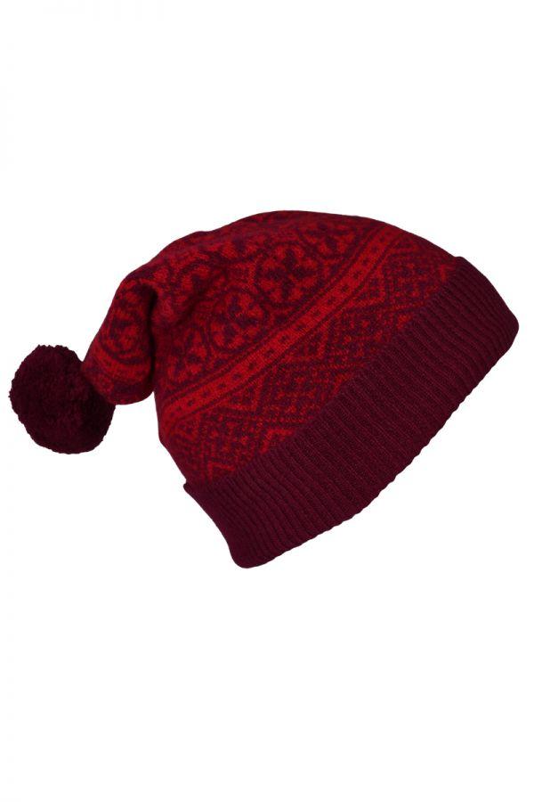 Rubislaw fair isle ski hat scarlet burgundy red
