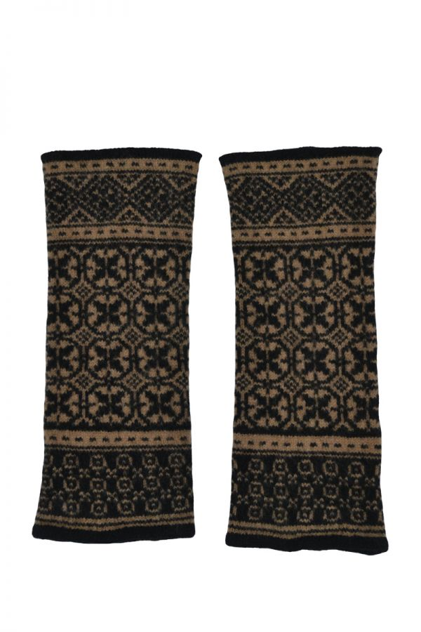 Rubislaw fair isle wrist warmer fingerless gloves camel black