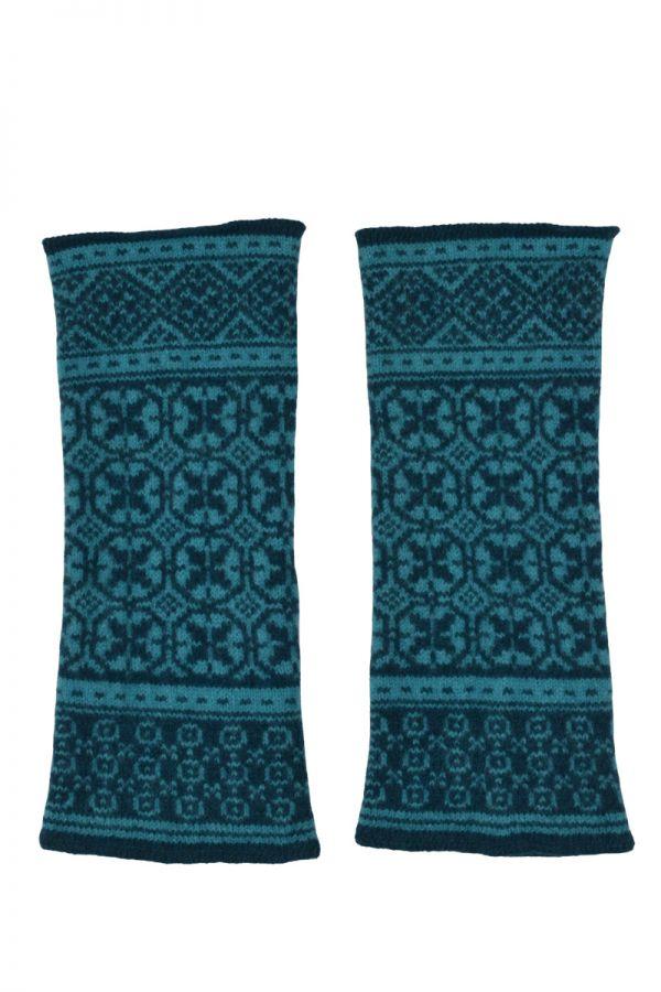 Rubislaw fair isle wrist warmer fingerless gloves teal