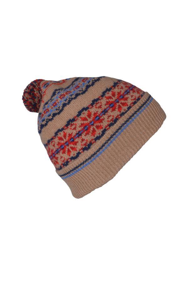 Fair isle ski hat camel blue red lambs wool Scalloway pom