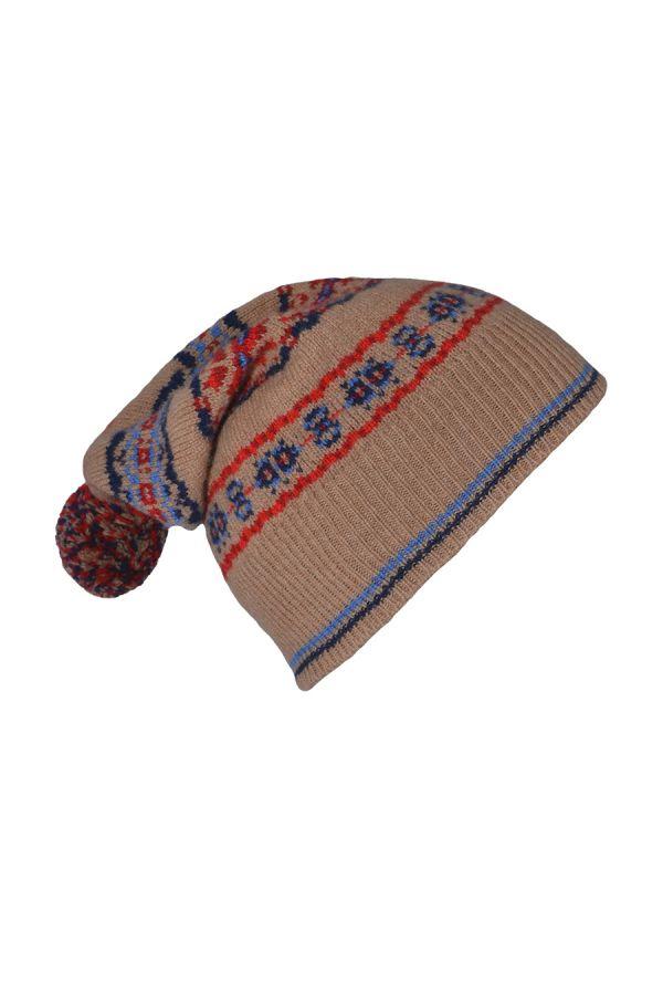 Fair isle ski hat camel blue red lambs wool Scalloway