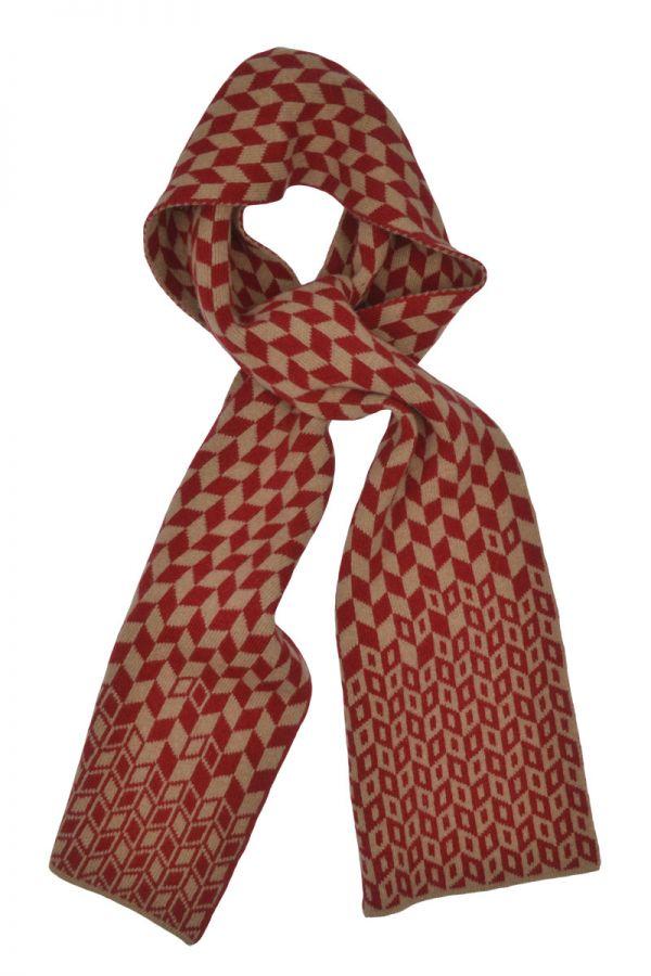 Scottish lambs wool scarf red camel graphic chevron