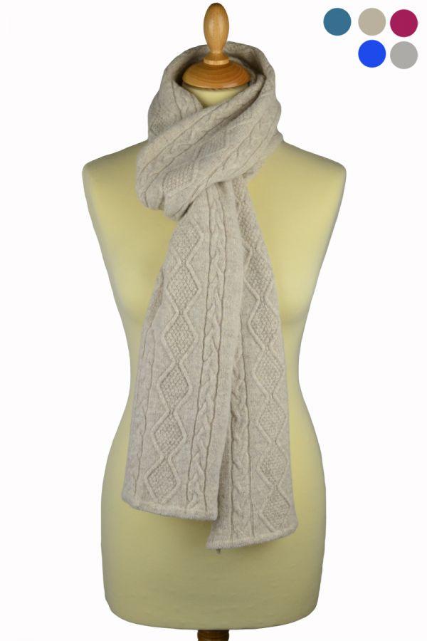 Scottish fine lambwool aran scarf - grey, natural, pink, blue, teal
