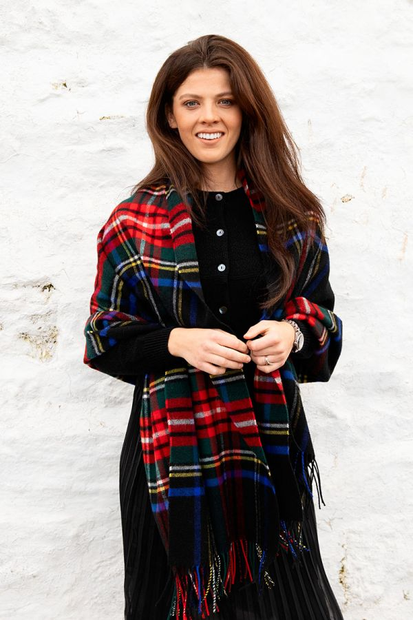 Scottish Lambswool Tartan Blanket Scarf - Royal Stewart