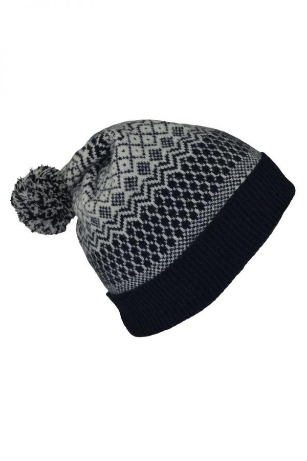 trellis fair isle ski hat. navy