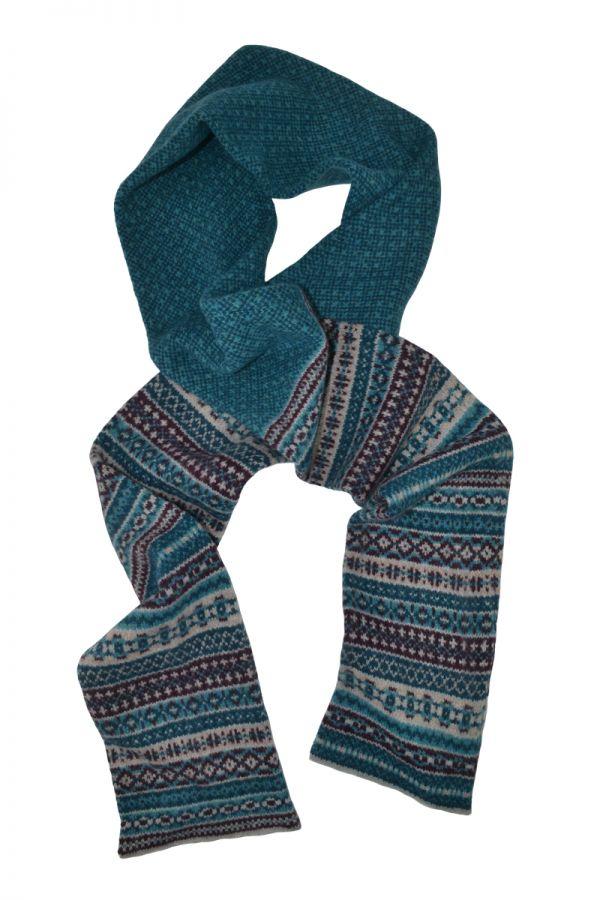 Tweed Fair isle scarf - Teal