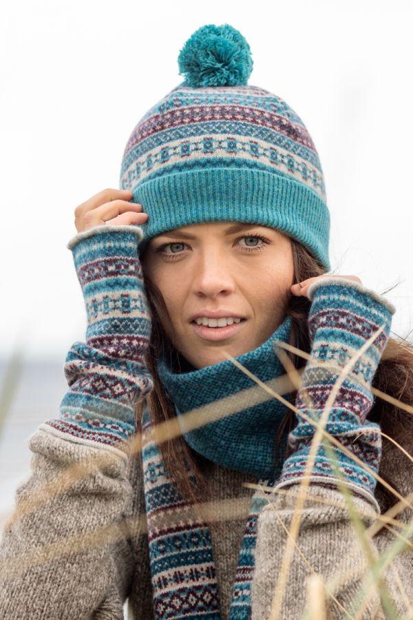 tweed fair isle ski bobble hat teal