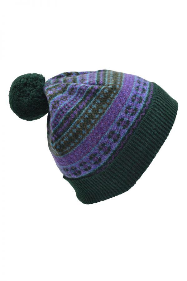 Fair isle hat. purple green lambs wool