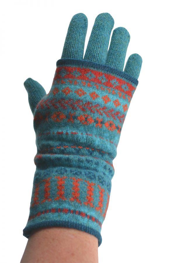 lambswool glove and fair isle wrist warmer