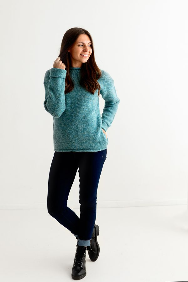 womens teal aqua wool chunky cuffed jumper sweater full