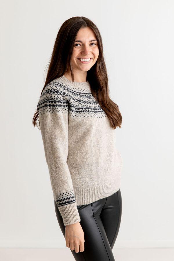 womens beige wool fair isle jumper sweater aviemore yoke putty charcoal