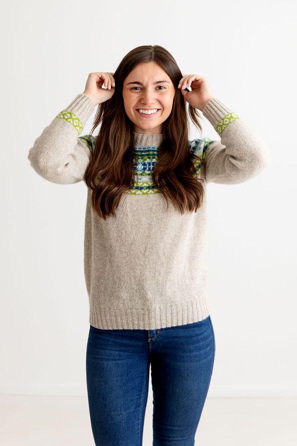 womens beige wool fair isle jumper sweater festival yoke blue green