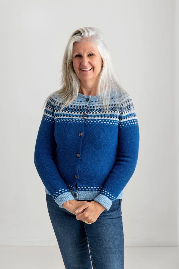 womens blue fair isle cardigan shetland wool royal