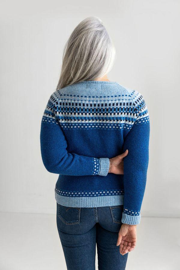 womens fair isle cardigan royal blue wool back