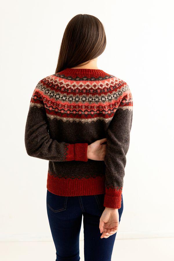 womens brown fair isle cardigan wool red russet crathie back