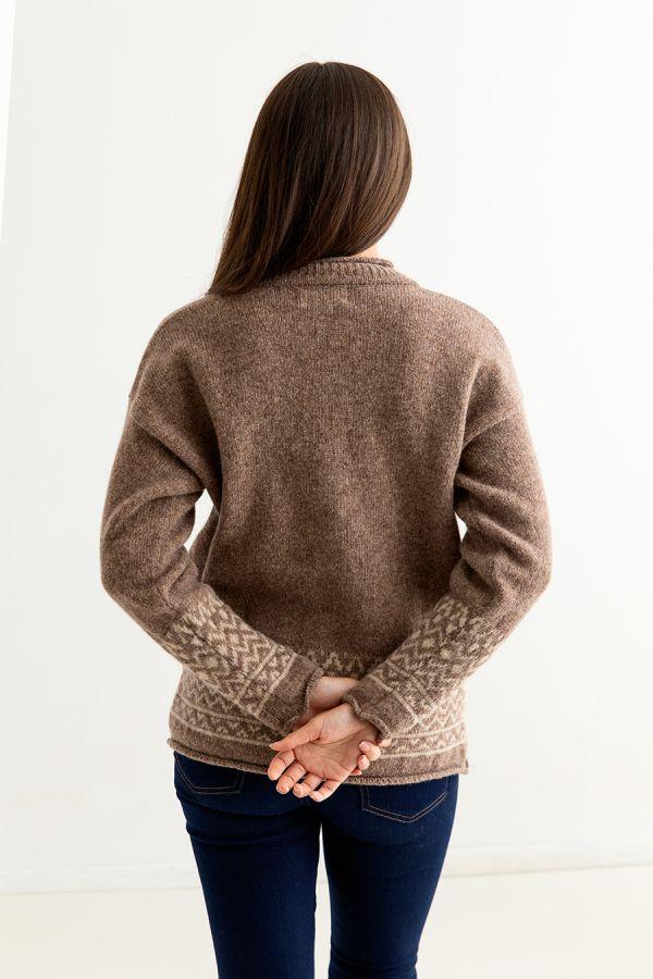 womens brown fair isle jumper sweater shetland wool braemar back