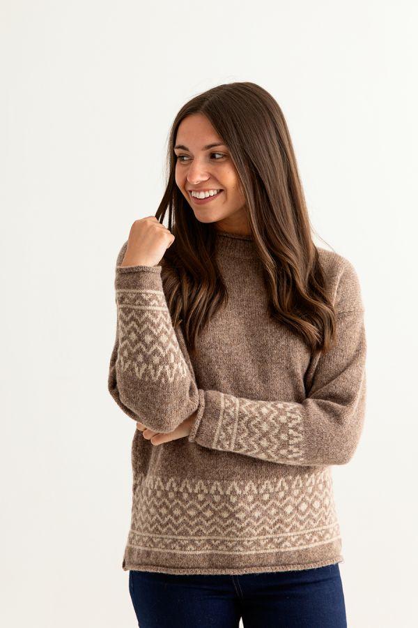 womens brown fair isle jumper sweater shetland wool braemar front
