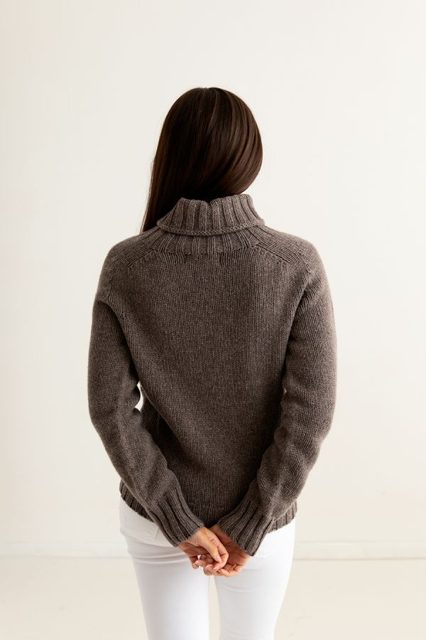 womens brown lambs wool chunky polo neck jumper sweater geelong back