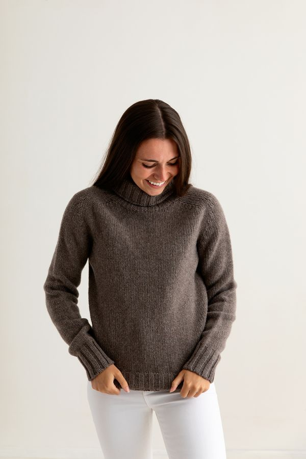 womens brown lambs wool chunky polo neck jumper sweater geelong ladies front