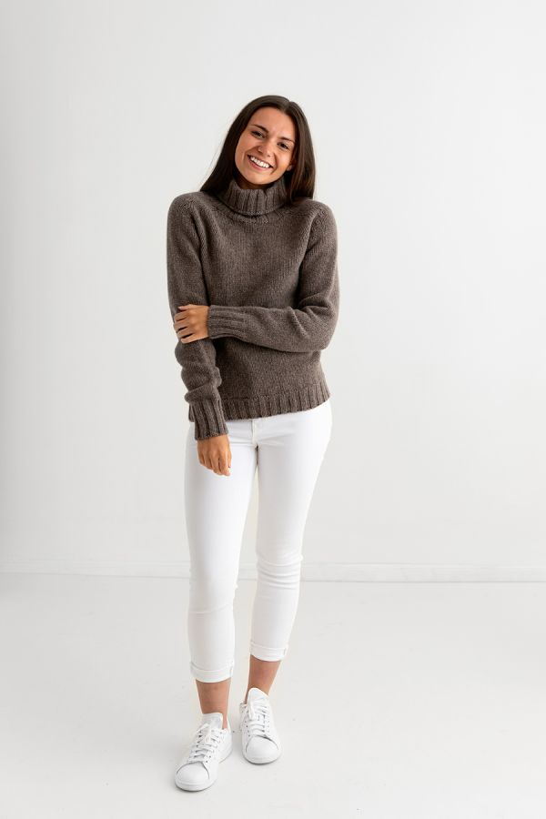 womens brown polo neck chunky lambs wool jumper sweater full