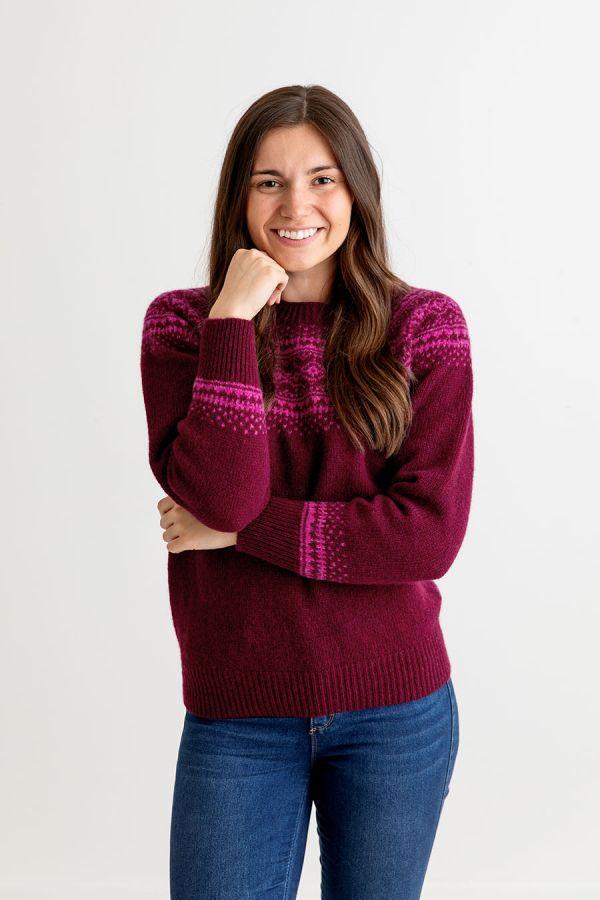 womens burgundy fair isle jumper sweater aviemore yoke shetland wool