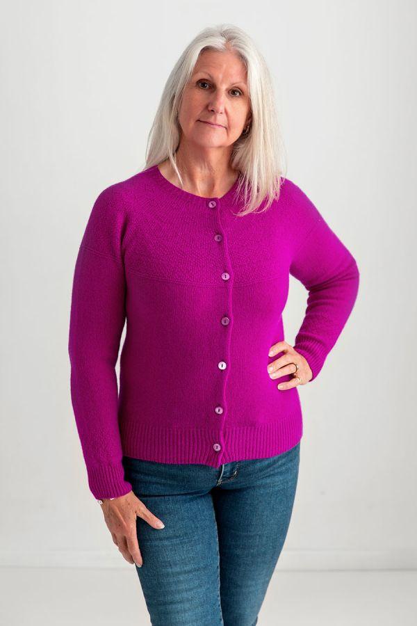 ladies gansey cardgian fuchsia pink wool