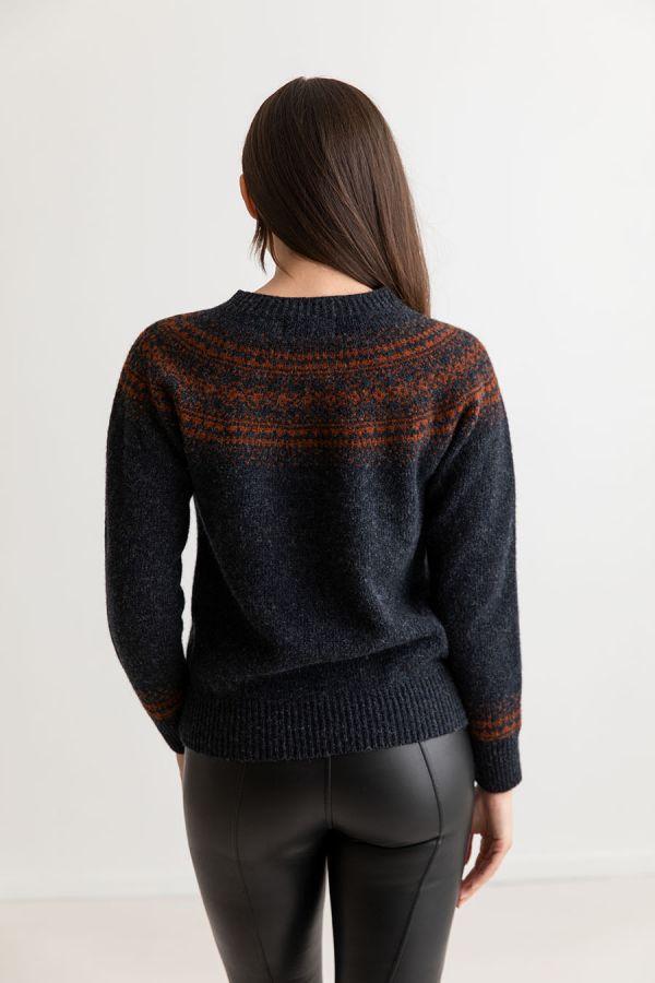 womens charcoal fair isle jumper sweater rust wool aviemore yoke