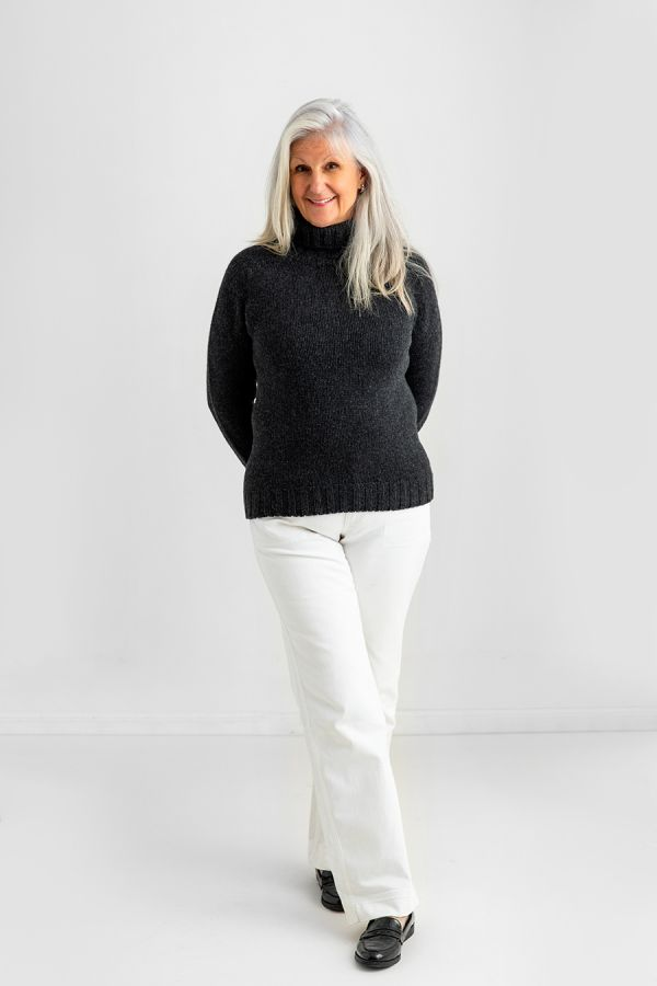 womens turtle neck sweater charcoal grey lambs wool
