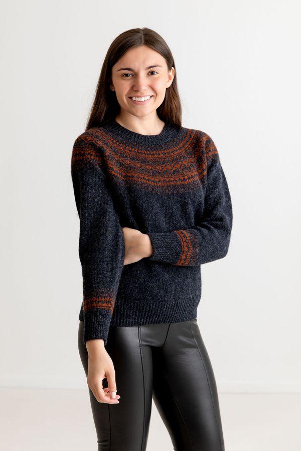 womens charcoal wool fair isle jumper sweater rust aviemore yoke