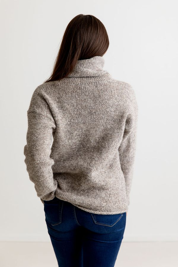 womens chunky cowl neck jumper sweater undyed wool natural pebble
