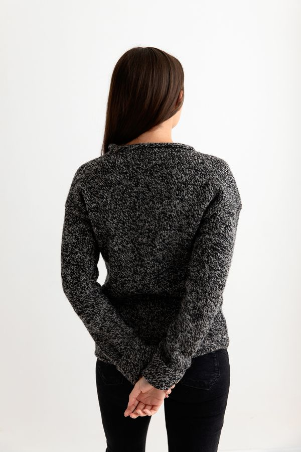 womens wool jumper sweater black grey pebble chunky cuffed back