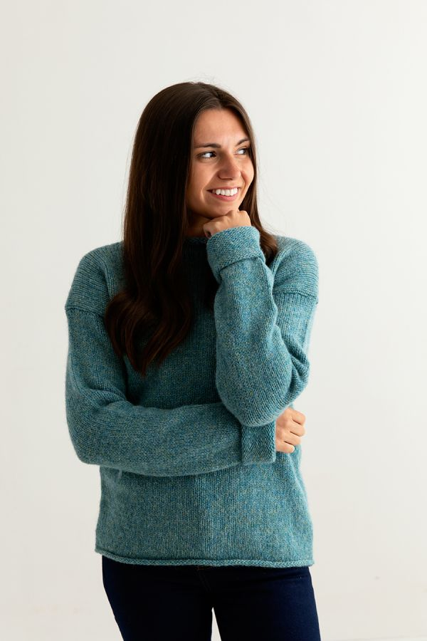 womens teal chunky wool jumper sweater front