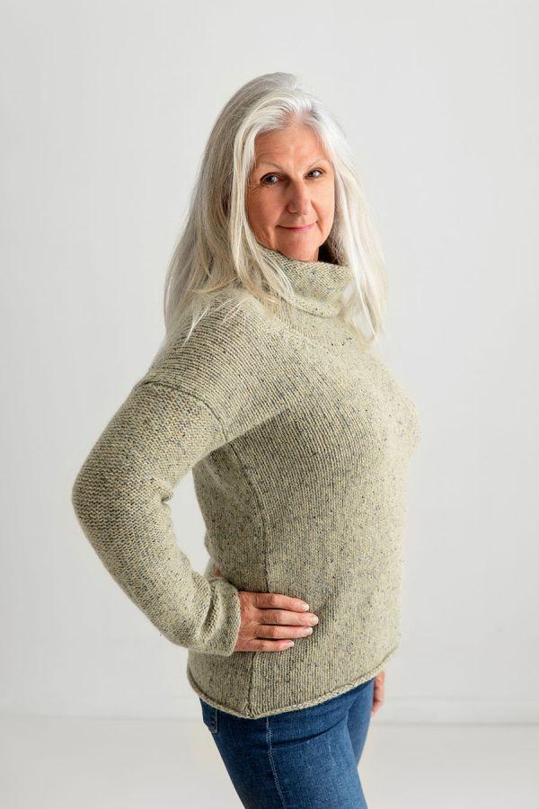 womens cowl neck chunky wool jumper sweater light green